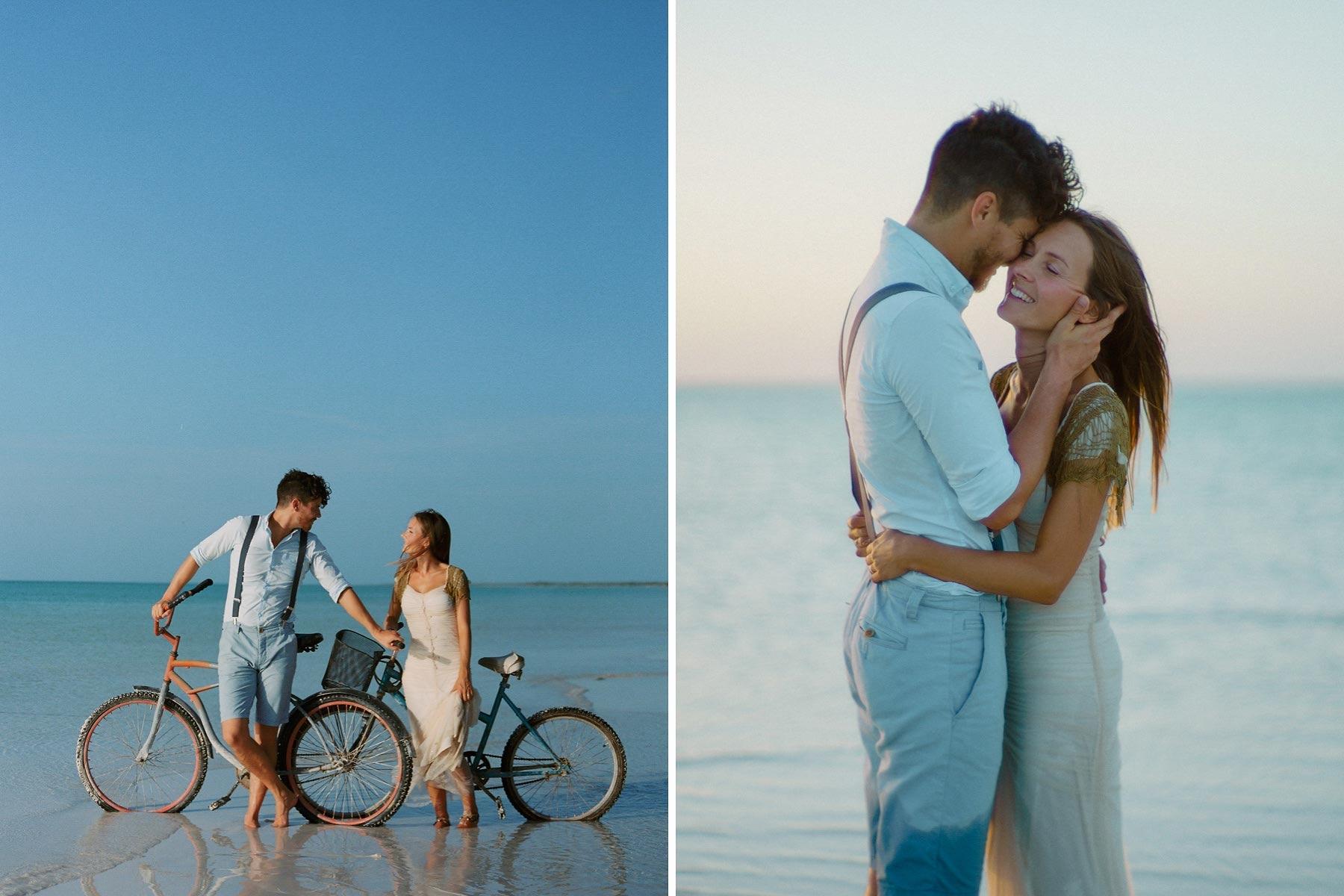 bride and groom holbox wedding