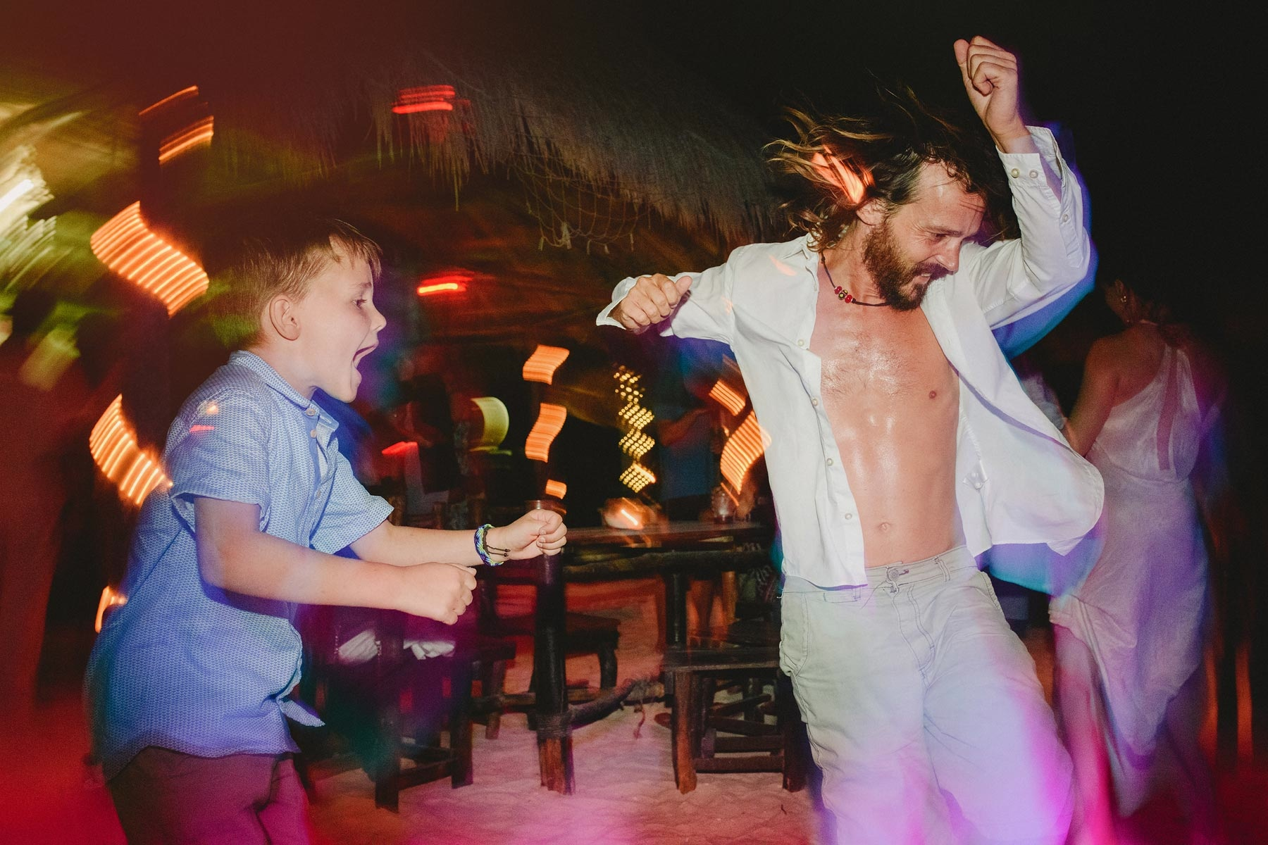 dancing in a holbox wedding