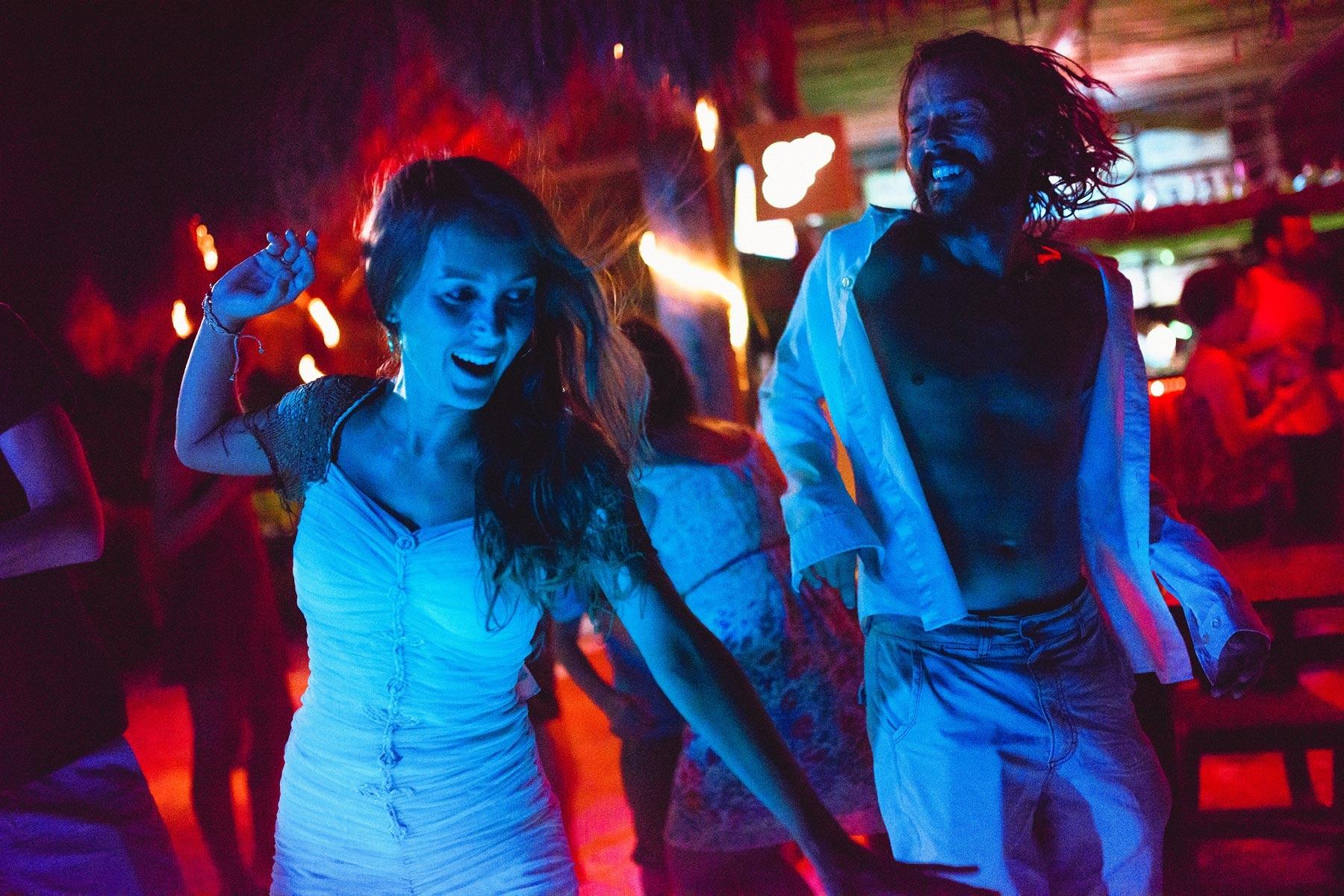 dancing in a holbox wedding