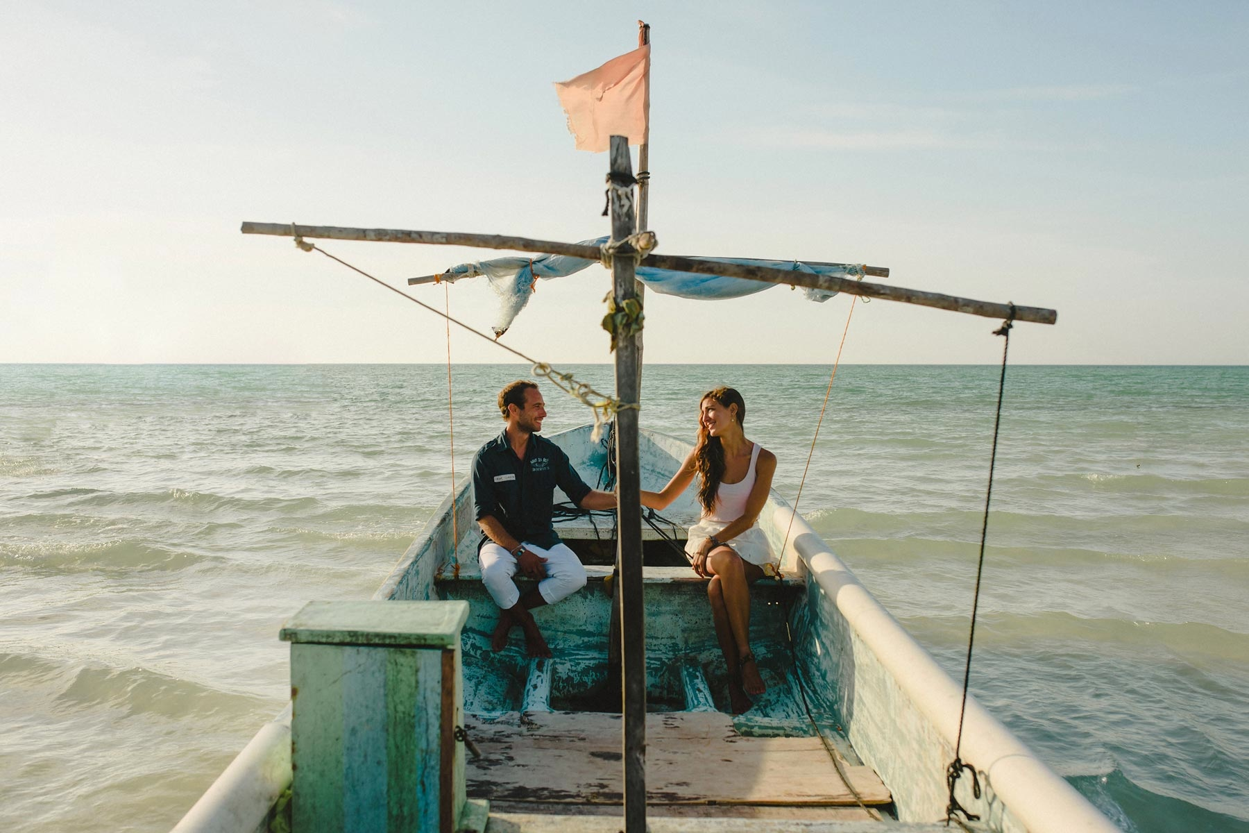 couple in boat, holbox