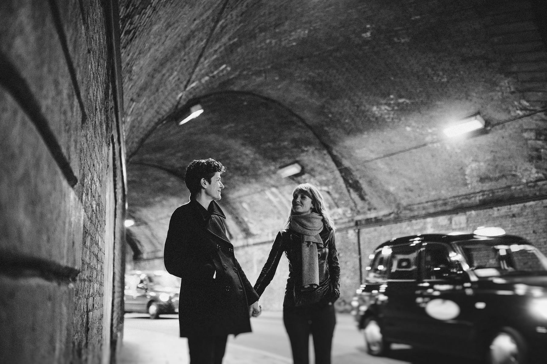 couple in london tunnel